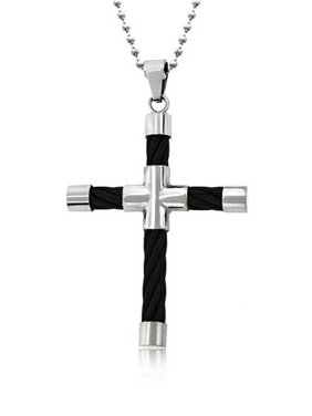 Mens Two Tone Tube Black Cable Cross Pendant Necklace For Men For Teen Black Silver Tone Stainless Steel