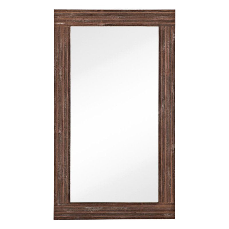 Majestic Large Rectangular Wood Framed Glass Wall Mirror by