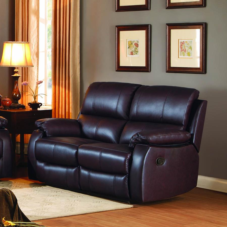 Homelegance Jedidiah Double Reclining Loveseat in Chocolate Leather