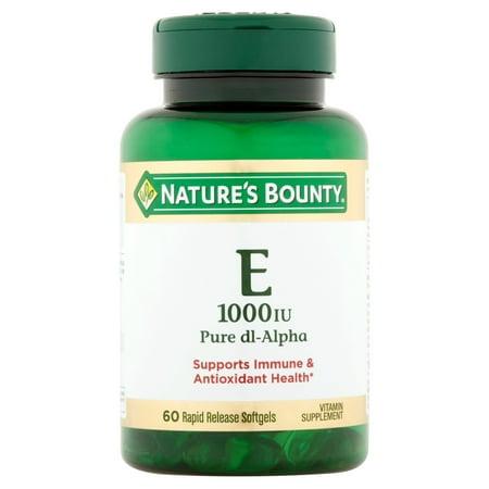 (2 pack) Nature's Bounty Vitamin E Pure dl-Alpha, 1000 IU Softgels, (1000 Iu 30 Caps)