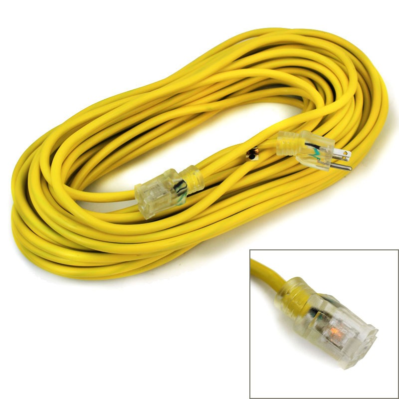 25' 12 Gauge Electric Extension Cord 3 Prong Power Cable In/Outdoor STJW UL GLO