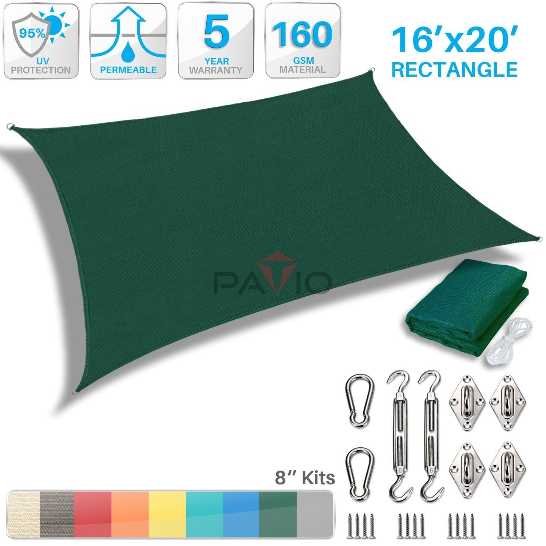 Patio Paradise 16' x 20' Sun Shade Sail with 8 inch Hardware Kit, Dark Green Rectangle Patio Canopy Durable Shade Fabric... by Patio Paradise