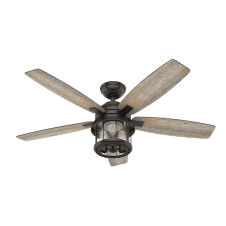 "Hunter 52"" Coral Bay Noble Bronze Ceiling Fan with Light Kit and Remote"