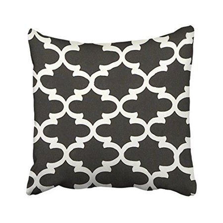 WinHome Decorative Canvas Quatrefoil Accent Decorative Throw Pillow Cover Black and White Size 18x18 inches Two Side ()