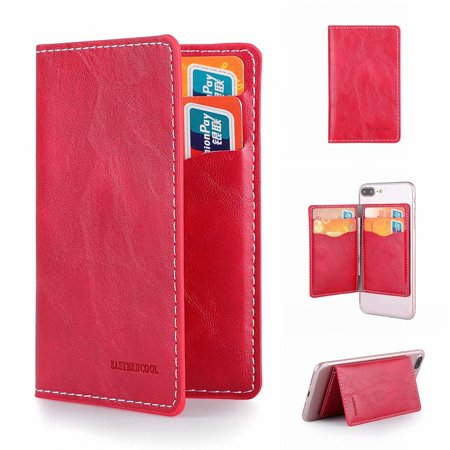 Dteck Card Holder for Back of Phone, Stick on Wallet functioning as Credit Card Holder, Phone Wallet and iPhone Card Holder / Card Wallet for Cell Phone, Rose (Horizontal