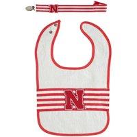 Nebraska Cornhuskers Infant Striped Bib and Pacifier Strap Set - No Size