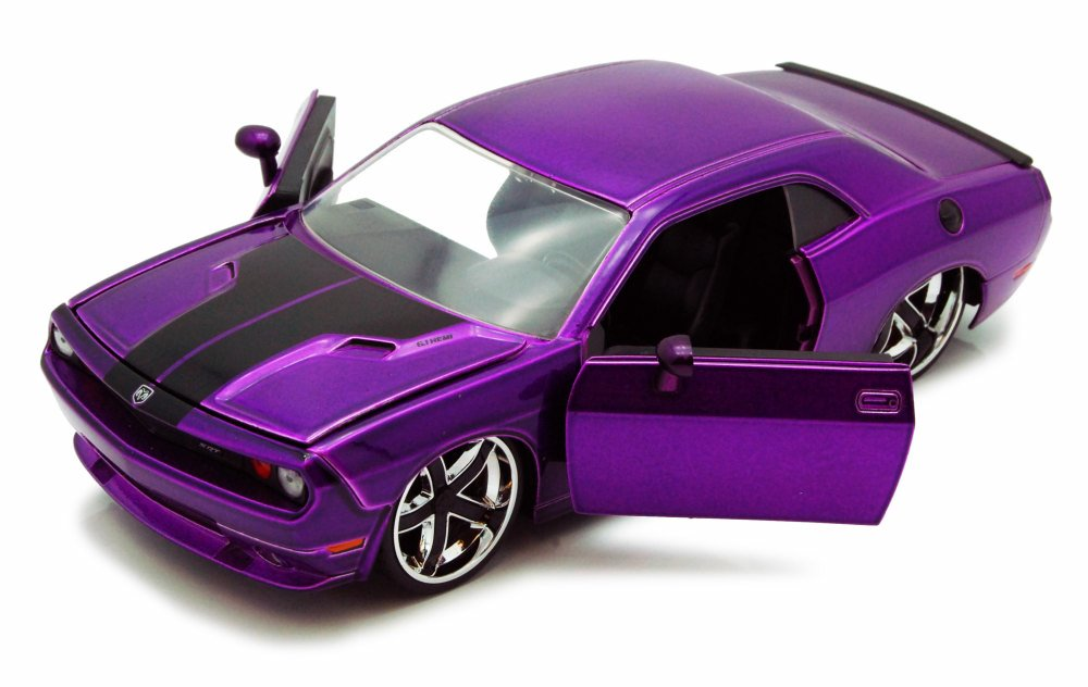 2008 Dodge Challenger SRT8, Purple w black stripes Jada Toys 96894 1 24 scale Diecast... by Jada