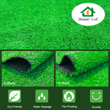 Home Cal Artificial Grass Artificial Turf Rug, 0.7Inch Blade Height Rubber Backing Realistic Synthetic Fake Grass for Dogs or Outdoor