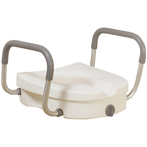 Drive Medical Raised Toilet Seat with Removable Padded Arms