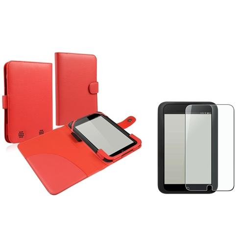 Insten Red Folio Leather Case+Anti-Glare Screen Protector For BN Nook HD 7 tablet (Supports Auto Sleep/Wake)