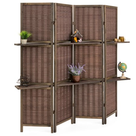 Best Choice Products 4-Panel Woven Bamboo Folding Privacy Room Divider Screen w/ Removable Storage Shelves - Brown
