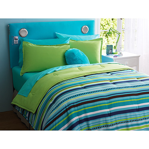 your zone reversible comforter & sham set, teal/dotted stripe