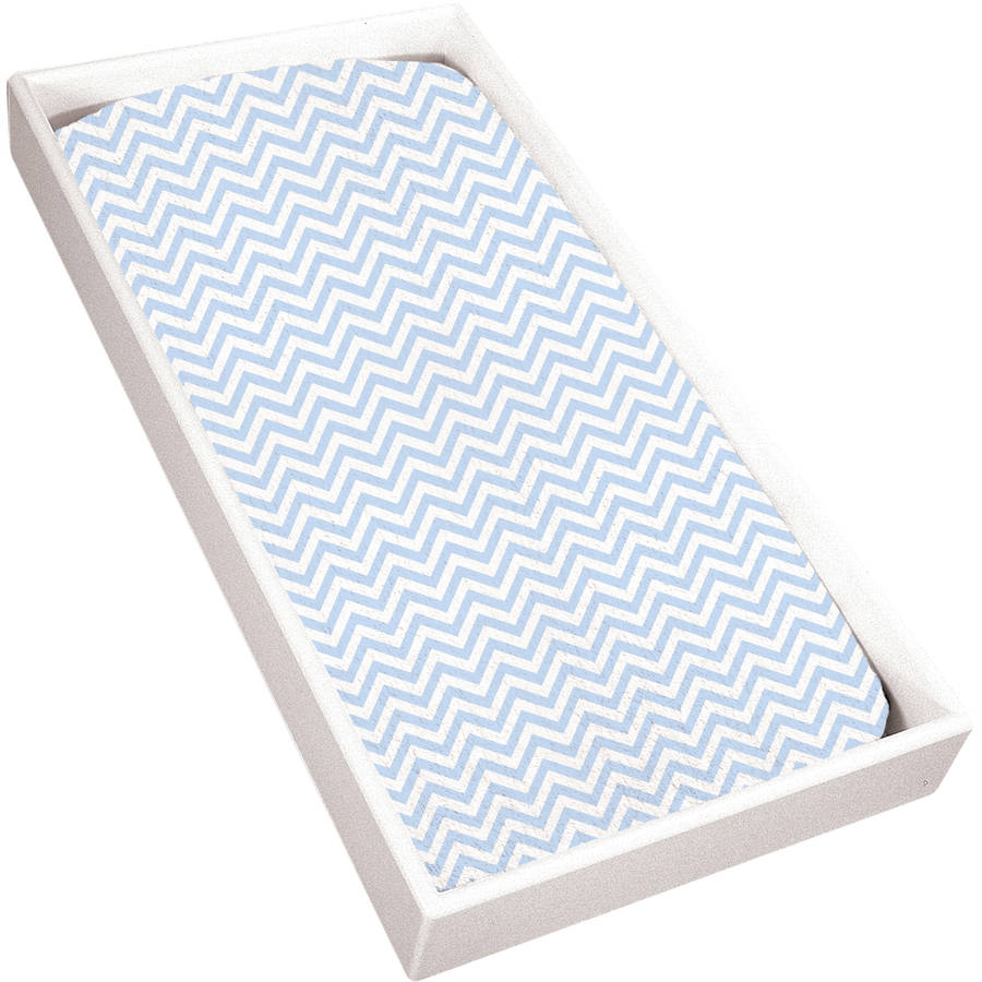 Kushies Bassinet Fitted Flannel Sheet, Blue Chevron