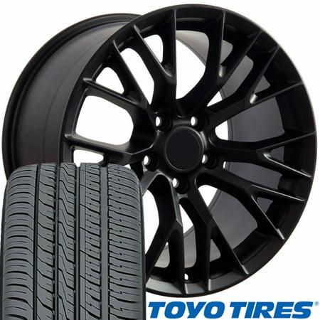 - OE Wheels 17 Inch Fit Corvette Camaro C7 Z06 Style Satin Black 17x9.5 Rims and Toyo Tires Hollander 5734 SET