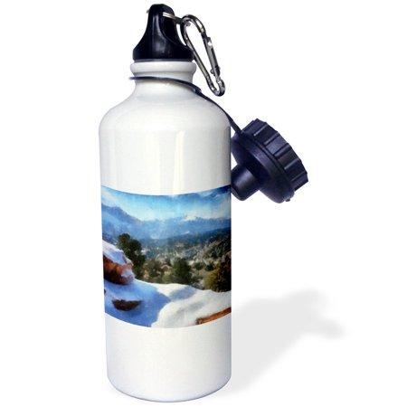 3dRose Colorado Mountains Snow and Pikes Peak, Sports Water Bottle, 21oz (Snow Peak Camp)