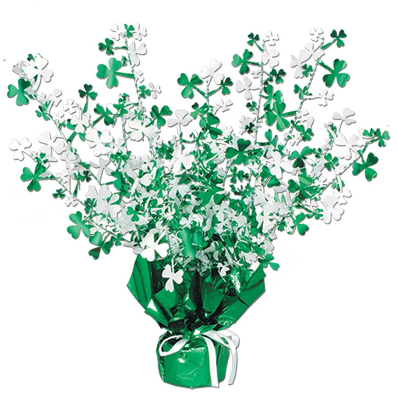 "Club Pack of 12 Shamrock Gleam 'N Burst St. Patrick's Day Centerpiece Decorations 15"""