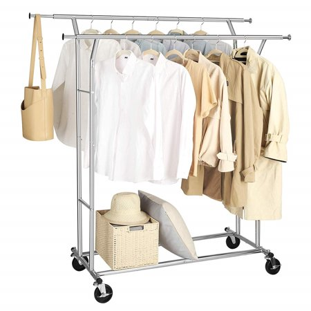 Clothes Garment Racks,Clothing Racks on Wheels,Heavy Duty Clothing Rolling Rack on Wheels with Expandable Collapsible Clothing Racks, Holds up to 250 lbs,Y00397 Clothes Rack,High Grade Steel Rolling Garment Rack,Clothes Hanging Rack Stand Laundry Rack with Wheels,Horizontal&Vertical Adjustable Rolling Garment Rack with Double Clothes Rods for Home Bedroom Laundryroom Durable Coat RackAfter many improvements, the connection of this clothes hanging rack stand is tighter and accurater to prevent wobble.Made of steel for strength, durability, and to resist dirt buildup and corrosion,this garment rack is sturdy,it does not sway or wobble nor fold under pressure.Strong to hold up 250 lbs. Expandable DesignThe clothes rack is designed to expand and accommodate more clothes. With adjustable rods, easy expansion both vertically 65 -70  and horizontally 51 -75 , this garment rack can meet different storage or drying needs for shirts, pants, coat, long dress, handbags etc.The cap mounted on both ends of the rail can prevent clothes from sliding down. 360 RotatingModern Clothing Rack contains 4 durable casters for easy mobility.Your can spin and push which makes you very easy to get the palce you want. Easy to AssembleDo not worry about the assembly of clothes hanging rack stand, this garment rack can be assembled without any tools, just click the pieces together, you only need to spend 15min to install the clothes rack.When not in use, fold it flat to save space or ease its transport. Useful and Portable Clothes RackHouse day clothes rack brings you ease of hanging clothes and wheeling them along anywhere. No more hassle of carrying heavy garments from one place to another weighed down by your load. The portable closet takes care of it. Just roll it along with you.Perfect for your pageants!Introductions:This Portable Double-bar Steel Clothes Rack is excellent for indoor or outdoor use. In terms of quality, it is made of premium steel material, so it is quite tough for your long-lasting use. The tough pipes and solid structure offer better bearing capacity. Though it is in double-bar style, it is practical to use. Most of all, this clothes rack will not take up too much space. You might as well take it back home!Specifications:1. Material: Steel2. Dimensions: (51 x 22x 65)  / (130 x 56 x 165)cm (L x W x H)3. Color: Silver4. Weight: 15.4 lbs / 7 kg5. Weight Capacity: 250 lbs / 114kg6. Range of Height: (6570)  / (165178)cm7. Range of Extensible Rod: (5175)  / (130190)cmPackage Includes:1 x Clothing Rack