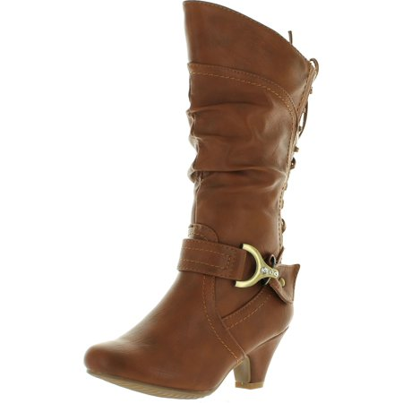 Lucky Top Kids Girls Back Lace-up Tie Zipper Closure Faux Leather Boots - Girls Leather Boots