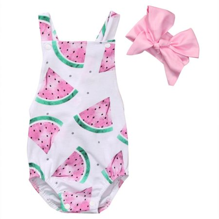 Baby Girls Watermelons Print Backless Ruffle Bodysuit With Headband - Girls Animal Print Onesie