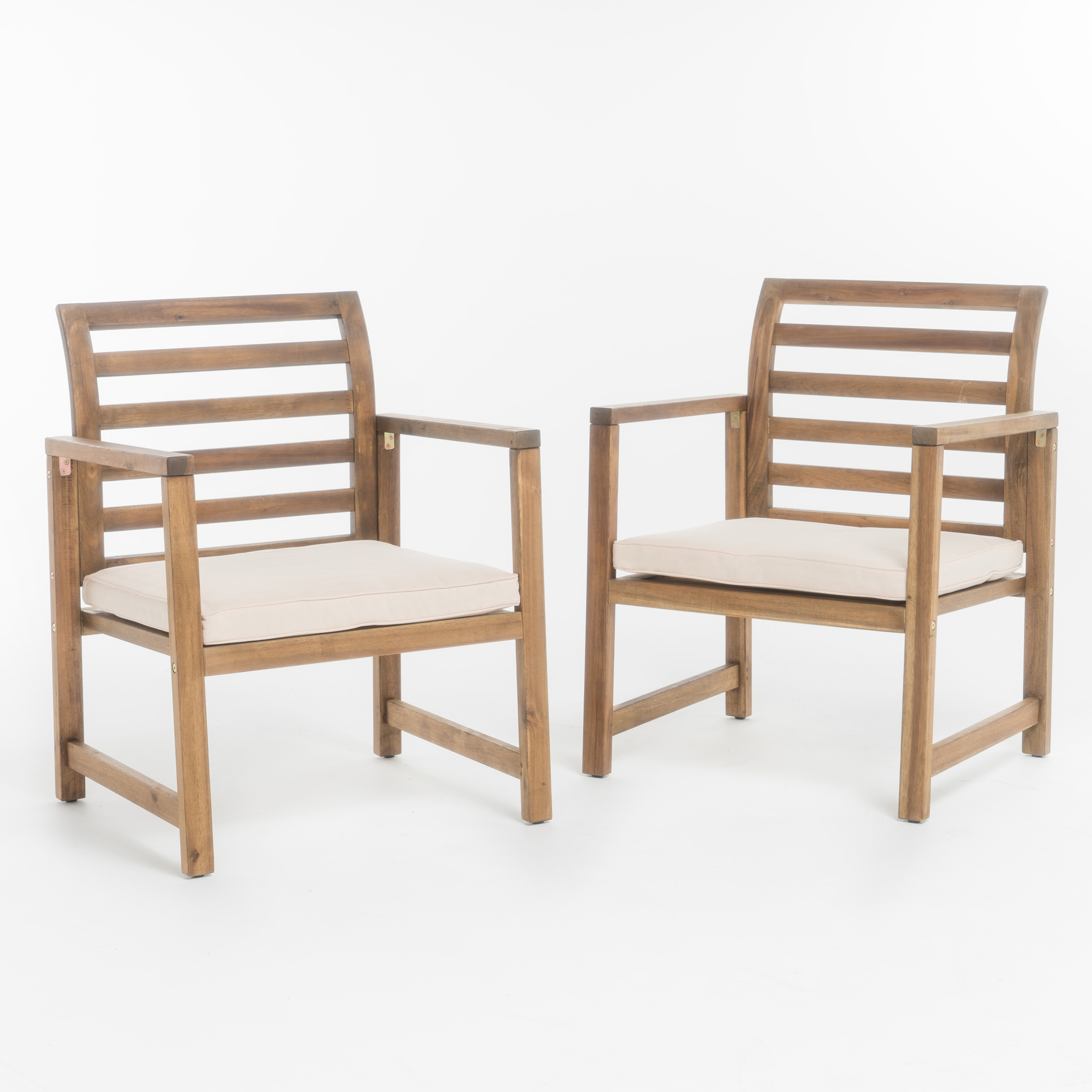 Eveleigh Outdoor Acacia Wood Club Chair, Set of 2, Natural Stained