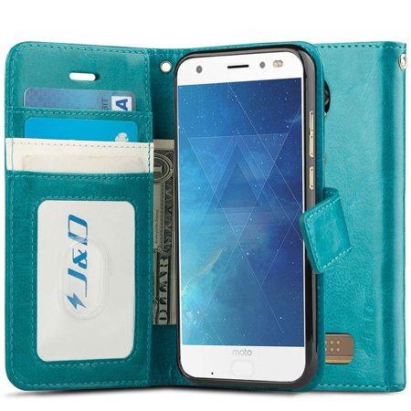 Moto Z2 Force Edition/Moto Z2 Force Case, J&D [RFID Blocking Wallet] [Slim Fit] Heavy Duty Protective Shock Resistant Flip Cover Wallet Case for Motorola Moto Z2 Force Edition/Moto Z2 Force - Aqua