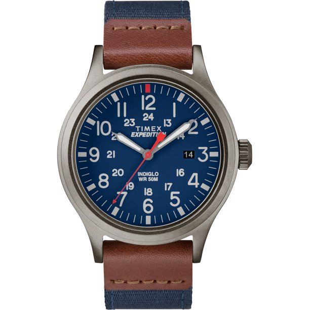 Men's Expedition Scout 40 Blue/Brown/Gray Watch, Leather/Nylon Strap