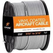 """7x7 Vinyl Coated Galvanized Steel Aircraft Cable Wire 250' Reel – 3/32"""" to 3/16"""" - for Pulley System or Winch Loop - Marine Wire, Cable Railing, Deck Railing, Fencing - by Xpose Safety"""