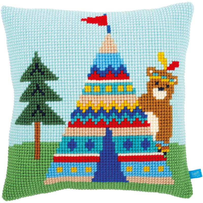 "Bear And Teepee Cushion Cross Stitch Kit-16""x16"""