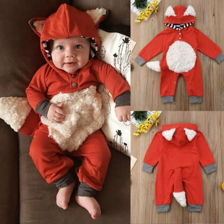 Fox Costume Accessories (Newborn Infant Baby Boy Girl Kids Fox Boysuit Romper Jumpsuit Clothes Outfit)