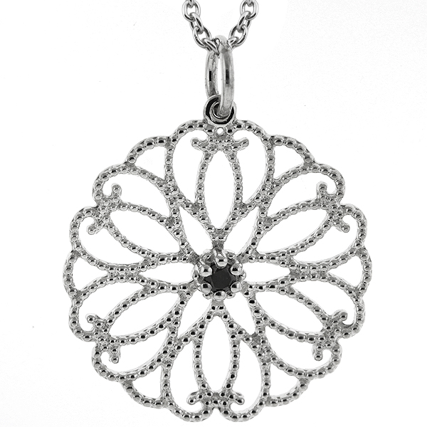 "Round Black Diamond 925 Sterling Silver Pendant with 18"" Silver Chain"