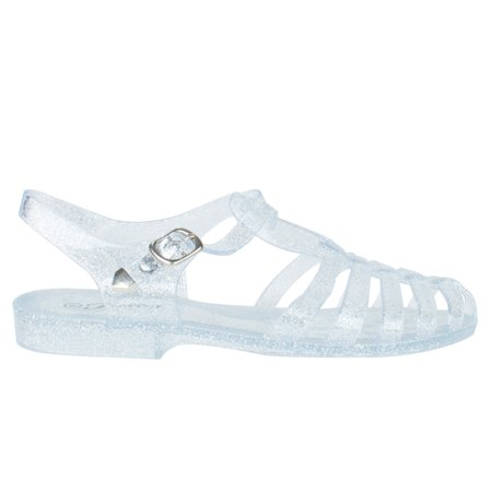Womens Summer T-Strap Retro Jelly Rain Flat Sandals (FREE SHIPPING) ()