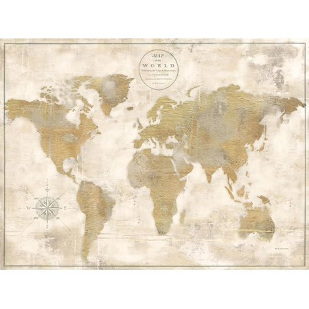 Rustic World Map Cream No Words Poster Print by Marie Elaine Cusson ()
