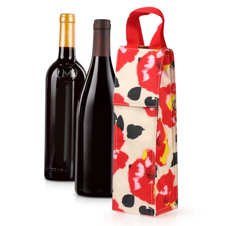 Wine Carrier Tote Bag for Travel by Zodaca Lightweight Thermal Insulated Wine Bottle Tote Carrying Case Whisky Glass Bottle Carry Holder Bag for Travel Party Gift