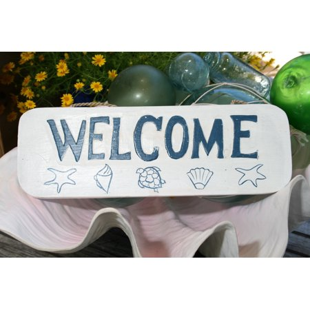Welcome  Beach Sign 14    Rustic White   Blue   Coastal Decor