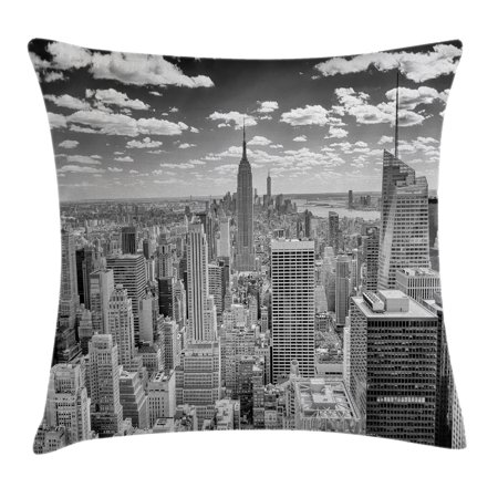 New York Throw Pillow Cushion Cover, NYC over Manhattan from Top of Skyscrapers Urban Global Culture Artful City Panorama, Decorative Square Accent Pillow Case, 18 X 18 Inches, Grey, by Ambesonne](Halloween Nyc 18 And Over)