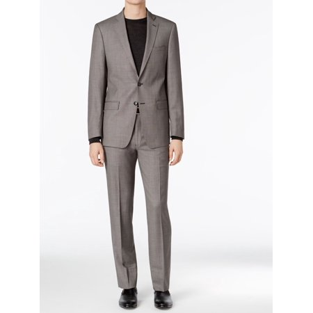 Calvin Klein Mens Long Slim-Fit Two Button Wool Suit Washable Wool Suits