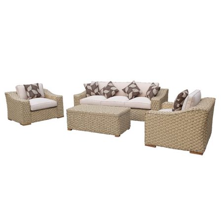 Brayden Studio Dutil 4 Piece Rattan Sofa Seating Group with Cushions
