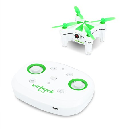 Virhuck V-3 RC Mini Drone, 2.4GHz 6-AXIS Gyro Optical Flow Sensor, Little Nano RTF Quadcopter with Wi-fi FPV Camera Live Video Feed, Orange, Green