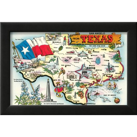 Greetings from San Angelo, Texas, the Lone Star State, Map Framed ...