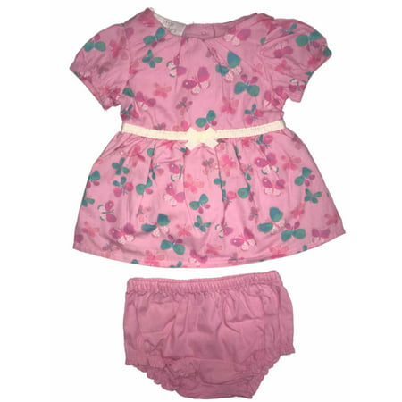 Infant Girls Pink Butterfly Flared Baby Dress Bow Front & Diaper Cover Set