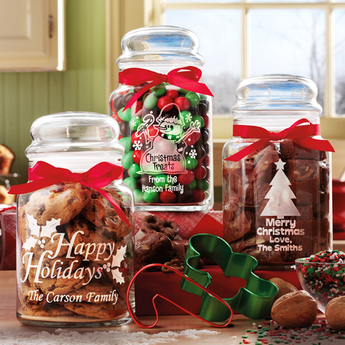 Personalized Christmas Treat Jars, Set of 3