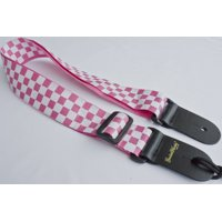 Guitar Strap Pink And White Checkerboard Nylon Solid Leather Ends Fits All Acoustic Electric & Bass Made In U.S.A. Since 1978