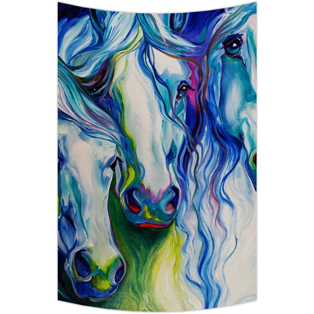 Gckg horse art tapestryhorse art wall hanging wall decor art for living room bedroom dorm cotton linen decoration size 80x60 inches