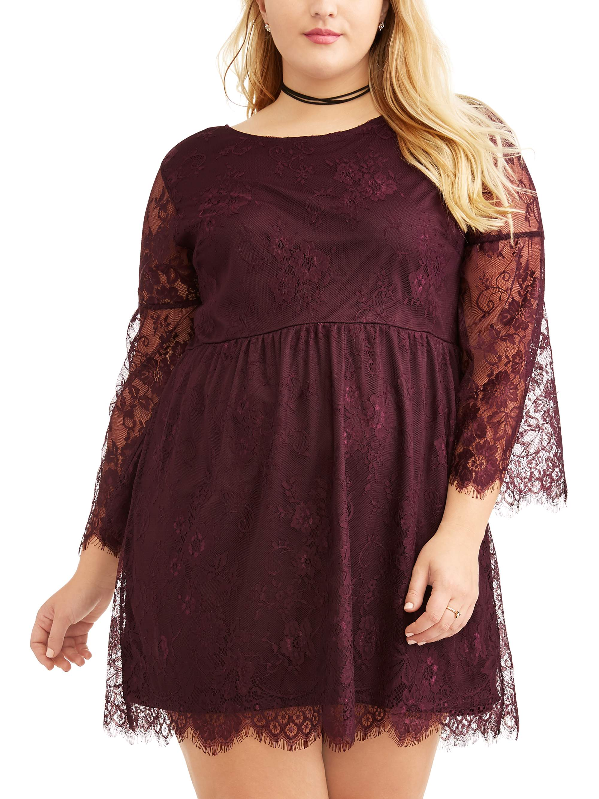 Junior's Plus Lace Bell Sleeve Dress with Tie Back