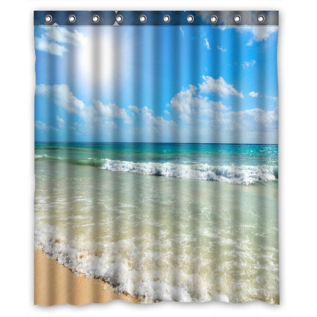 GCKG Summer Beach Blue Sea Palm Tree Sunshine Bathroom Shower