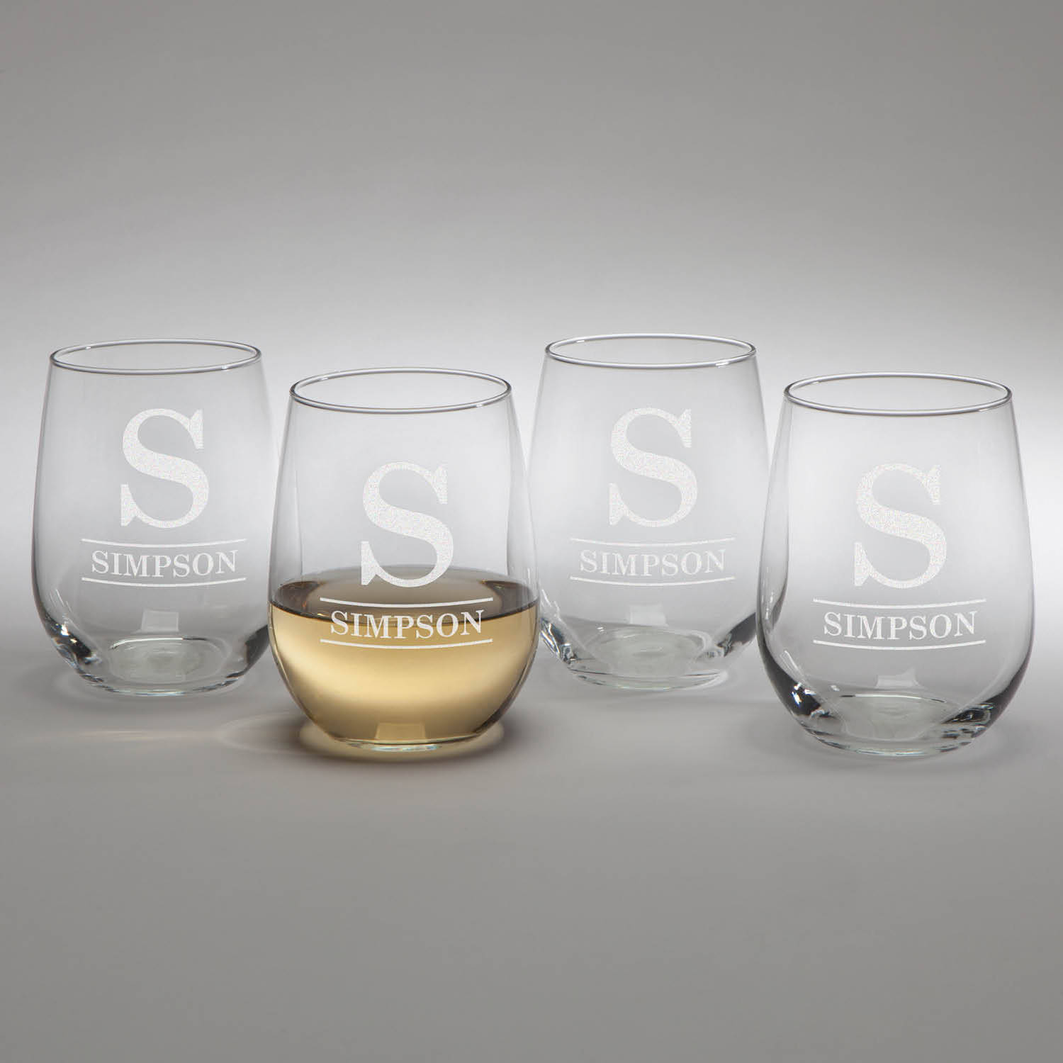 Personalized Family Name Stemless Wine Glasses, Set of 4, 4 Styles to Choose From