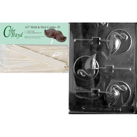 Mold Animal - Cybrtrayd 45St25-A121 Flamingo Lolly on Disc Animal Chocolate Candy Mold with 25 4.5-Inch Lollipop Sticks