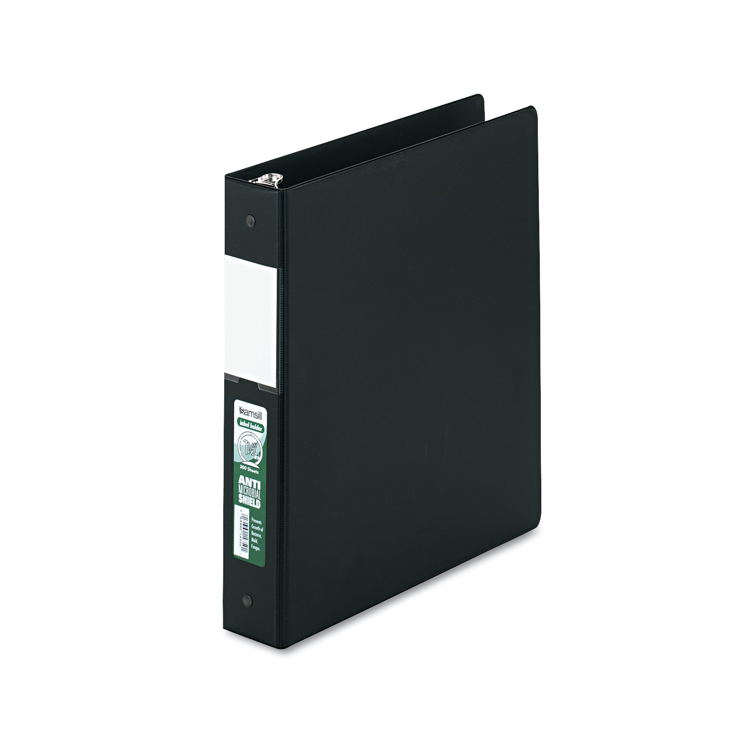 """Samsill Clean Touch Locking Round Ring Reference Binder, Antimicrobial, 1.5"""" Cap, Black -SAM14350 by SAMSILL CORPORATION"""