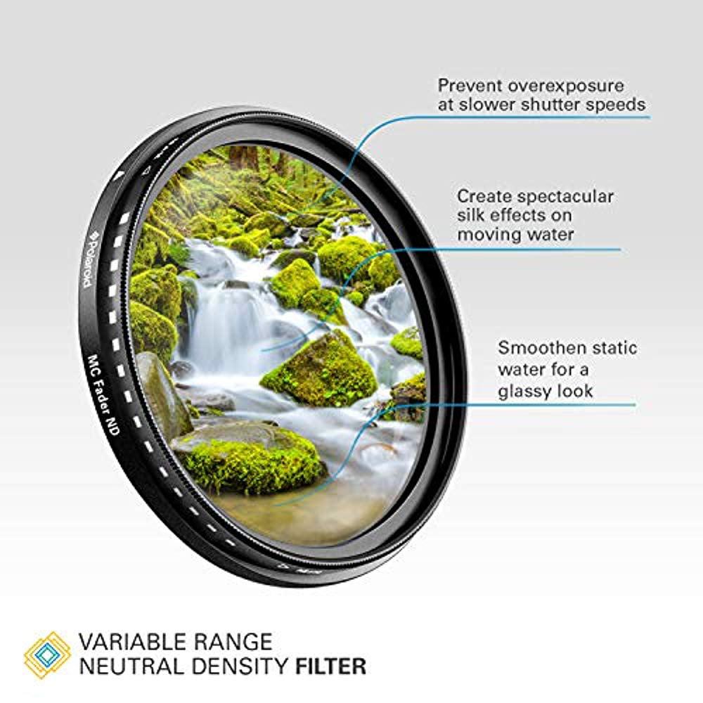 Polaroid Optics 82mm Multi-Coated Variable Range [ND3, ND6, ND9, ND16, ND32, ND400] Neutral Density Fader Filter ND2-ND2000 - Compatible w/ All Popular Camera Lens Models - image 6 de 8
