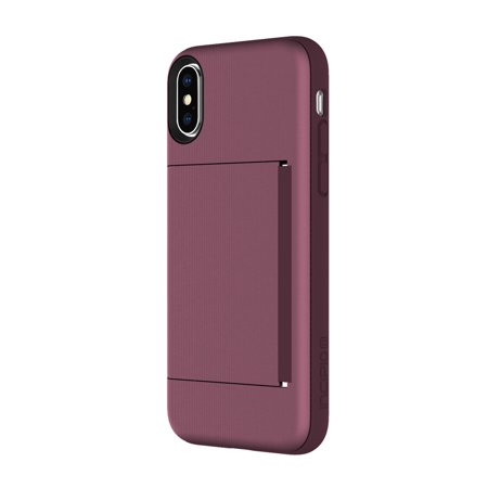 Incipio Stowaway iPhone X Case with Credit Card Slot Holder and Integrated Stand for iPhone X - Plum